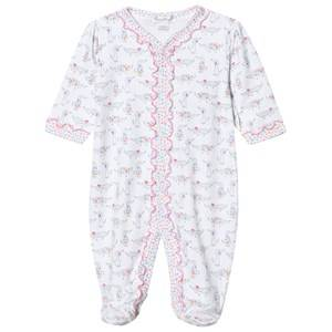 Kissy Kissy Girls All in ones Pink White Dachshund Print Frill Footed Baby Body