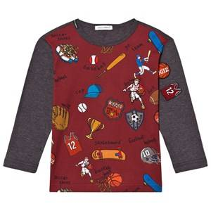 Dolce & Gabbana Boys Tops Red Sports Cartoon Print Long Sleeve Tee Red and Grey