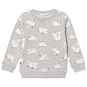 Stella McCartney Kids Girls Jumpers and knitwear Grey Grey Swan Print Betty Sweatshirt
