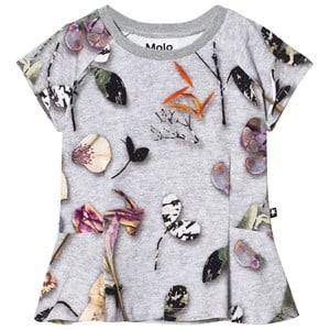Molo Girls Tops Grey Robbin T-Shirt Paper Petals Melange