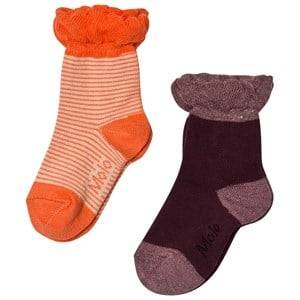 Molo Unisex Underwear Purple 2-Pack Noella Socks Orange/Forest Berry