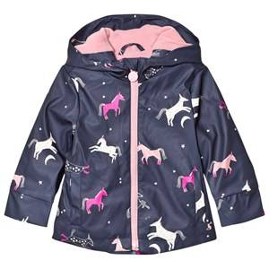 Tom Joule Girls Coats and jackets Navy Raindance Waterproof Rubber Raincoat French Navy Multi Horse