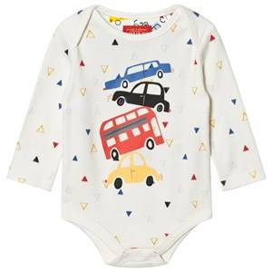 Joules Boys All in ones Cream Cream Car Print Baby Body