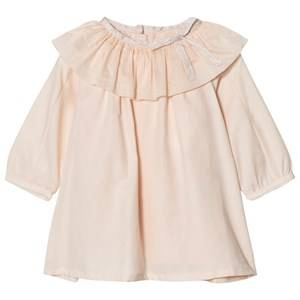 Chloé Girls Dresses Pink Pale Pink Ruffle Neck Twill Dress