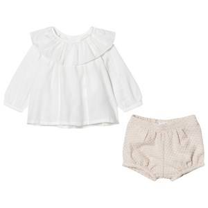 Chloé Girls Clothing sets Pink White Frill Collar Blouse and Tweed Shorts Set