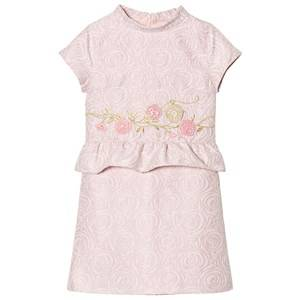 Billieblush Girls Dresses Pink Lurex Flower Embroidered Dress in Pale Pink