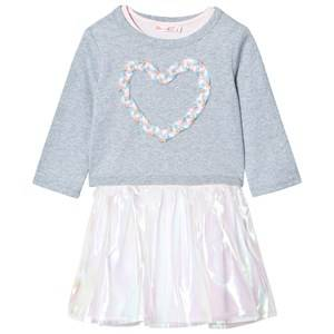 Billieblush Girls Dresses Grey Glitter Jersey and Organza Dress Grey