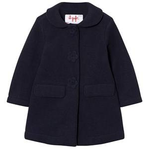 Il Gufo Girls Coats and jackets Navy Navy Wool Coat with Flower Buttons