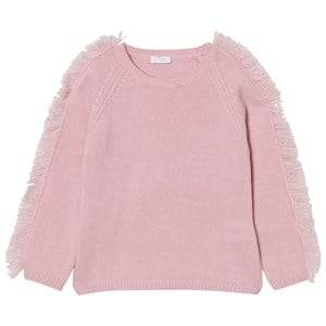 Il Gufo Girls Jumpers and knitwear Pink Frill Shoulder Sweater Pale Pink
