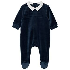 Carrément Beau Boys All in ones Navy Footed Baby Body Velour Navy