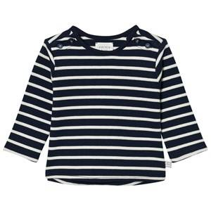 Carrément Beau Girls Tops Navy Navy and White Stripe Tee