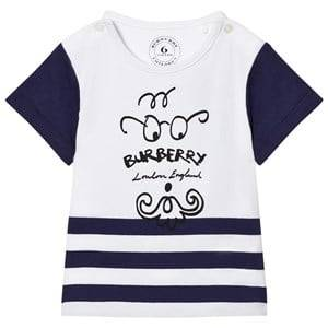 Burberry Boys Tops White Bearded Gent Print Tee Blue