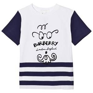 Burberry Boys Tops Blue Bearded Gent Print Tee Blue