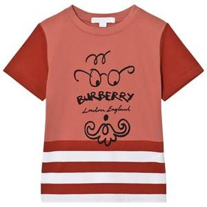 Burberry Boys Tops Red Bearded Gent Print Tee Red