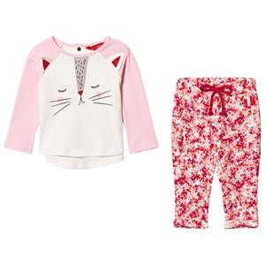 Tom Joule Girls Clothing sets Pink Pink Cat Face Tee and Floral Leggings Set