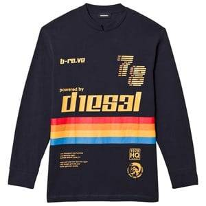 Diesel Boys Jumpers and knitwear Navy Long Sleeve Rainbow Stripe Tee Navy