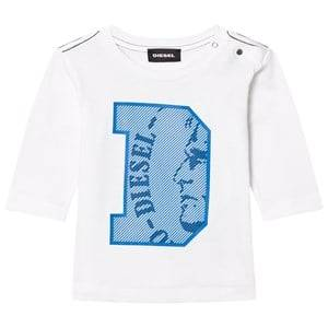 Diesel Boys Tops White Long Sleeve D Logo Tee White/Blue