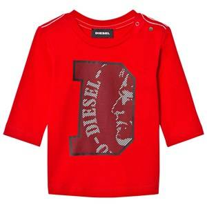 Diesel Boys Tops Red Long Sleeve D Logo Tee Red