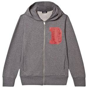 Diesel Boys Jumpers and knitwear Grey Grey D Logo Print Zip Hoodie