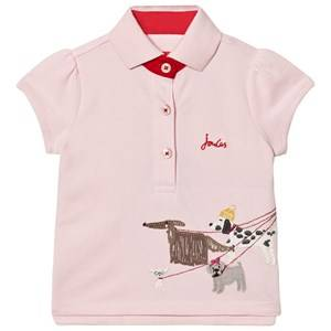 Joules Girls Tops Pink Pink Pique Polo with Walking Dogs Applique