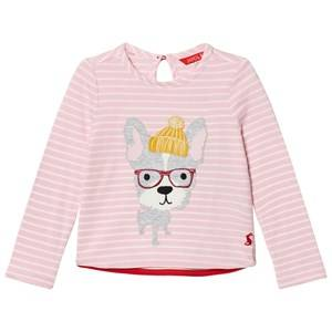 Joules Girls Tops Pink Pink Stripe Hipster Dog Applique Tee