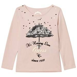 Guess Girls Tops Pink Pale Pink Umbrella Print Tee Tulle