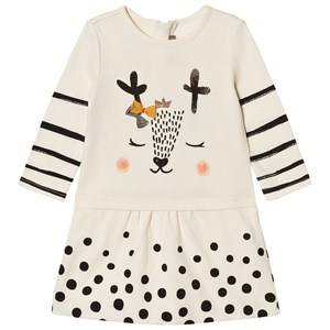 Catimini Girls Dresses Cream Cream Spot and Stripe Deer Print Jersey Dress