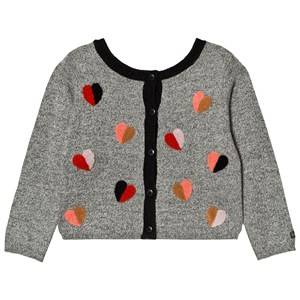 Catimini Girls Jumpers and knitwear Grey Grey Heart Embroidered Cardigan
