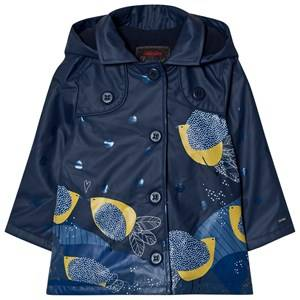 Catimini Girls Coats and jackets Navy Navy Bird and Glitter Print RaincoatPrint Raincoat