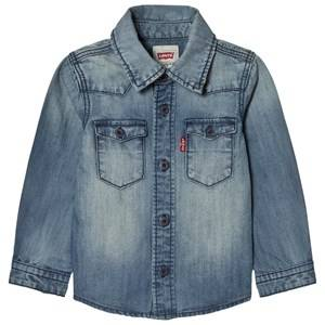 Levis Kids Boys Tops Blue Blue Long Sleeve Denim Shirt