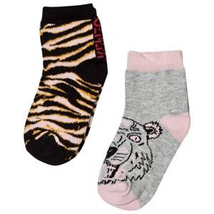 Kenzo Girls Underwear Pink Pink Multi Tiger and Animal Print 2 Pack of Socks
