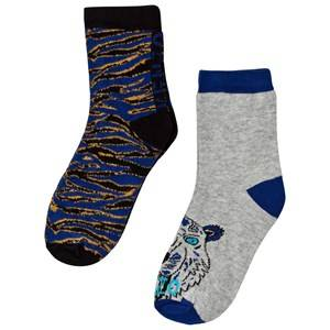Kenzo Boys Underwear Blue Blue Multi Animal Print and Tiger 2 Pack of Socks