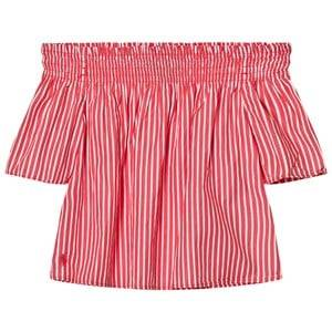 Ralph Lauren Girls Tops Red Striped Off The Shoulder Top