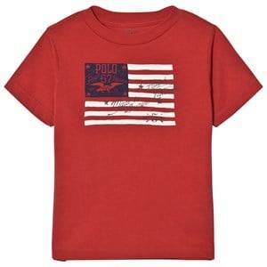 Ralph Lauren Boys Tops Red Red Cotton Jersey Graphic Tee