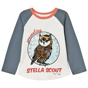 Stella McCartney Kids Girls Tops Blue White Owl Print Izzy Tee