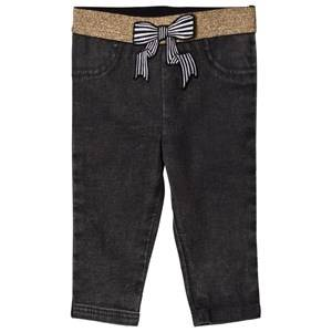 Little Marc Jacobs Girls Bottoms Grey Grey Jegging with Glitter Waistband and Bow