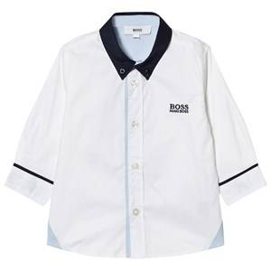 Boss Boys Tops White White and Navy Contrast Shirt