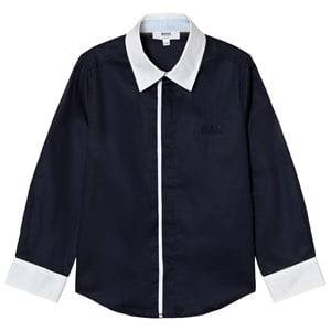 Boss Boys Tops Navy Navy and White Contrast Shirt
