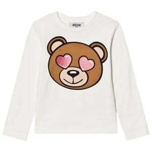 Moschino Kid-Teen Girls Tops White White Heart Eye Bear Print Tee