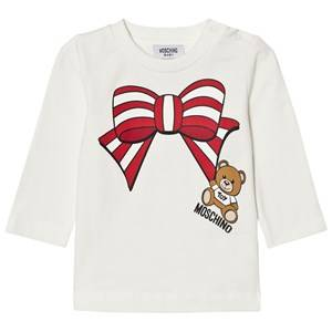 Moschino Kid-Teen Girls Tops Cream Cream Christmas Bow Bear Tee