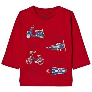 Mayoral Boys Tops Red Red Plane Print Long Sleeve Tee
