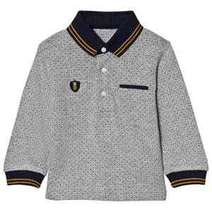 Mayoral Boys Tops Grey Grey Spot Polo with Navy Cuffs