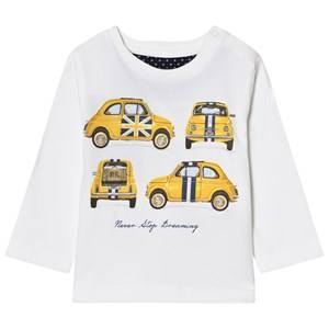 Mayoral Boys Tops Cream Off-White Car Print Long Sleeve Tee