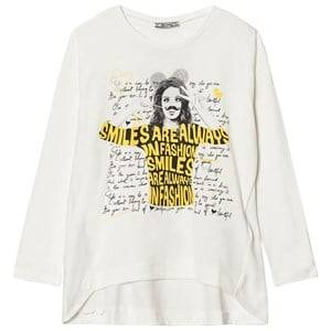 Mayoral Girls Tops Cream Cream Girl Letters Print Long Sleeve Tee