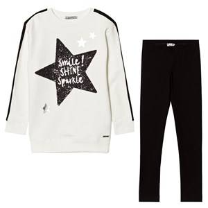 Mayoral Girls Clothing sets White White Glitter Star Print Tee and Leggings Set
