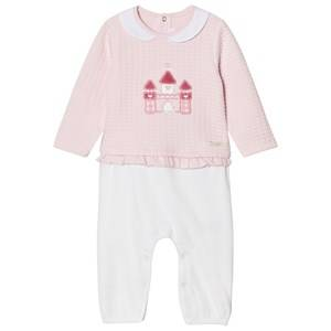 Mayoral Girls All in ones Pink Pink and White Castle One-Piece with Frill Waist