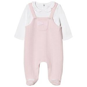 Mayoral Girls All in ones Pink Pink Knitted Dungaree Effect Collared Footed Baby Body