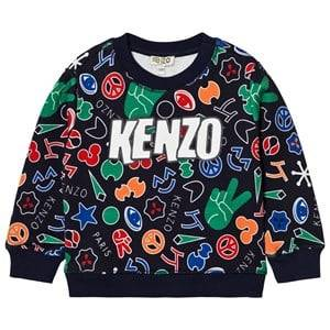 Kenzo Boys Jumpers and knitwear Navy Navy Multi All Over Logo Print Sweatshirt