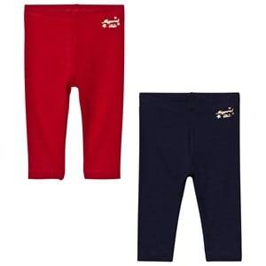 Mayoral Girls Bottoms Navy 2 Pack of Red and Navy Leggings