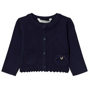 Mayoral Girls Jumpers and knitwear Navy Navy Knit Cardigan with Scalloped Collar